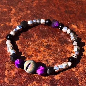Druzy & Star Cut Purple Tigers Eye & Onyx Bracelet